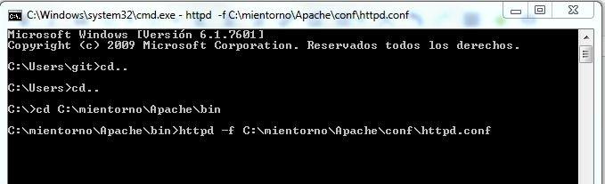 Ejecutar Apache con linea de comando CMD