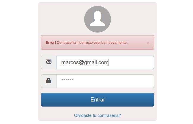 Formulario de login en HTML5